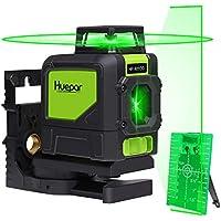 Silenciador de nivel láser Huepar 901CG - Autonivelación con láser de cruce de haz verde - Línea láser autonivelante a 360 ° - Herramienta de nivelación profesional - Láseres de línea verde