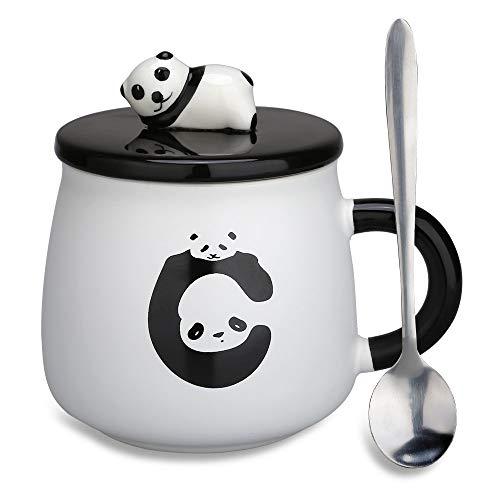 Panda Mug Gifts - Doublewhale Best Friend Gifts Mugs Tea Cups with Lids/Spoon for Teen Girls/Girlfriends/Women/Mum(Fat Panda)