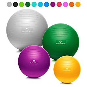 #DoYourFitness® Gymnastikball inkl. & Luftpumpe | 55cm 65cm 75cm o. 85cm | 100% Berstsicher – 150kg Belastbarkeit – robuster Sitzball, Bürostuhl, Fitnessball