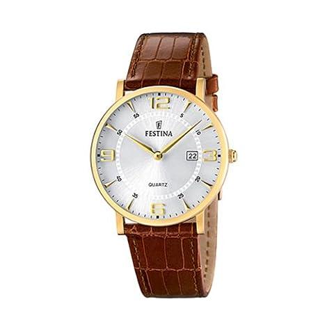 Festina Herren-Armbanduhr XL Klassik Analog Quarz Leder
