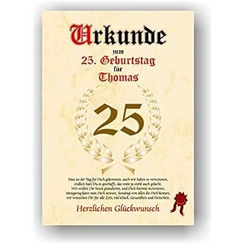 Urkunde 25 geburtstag