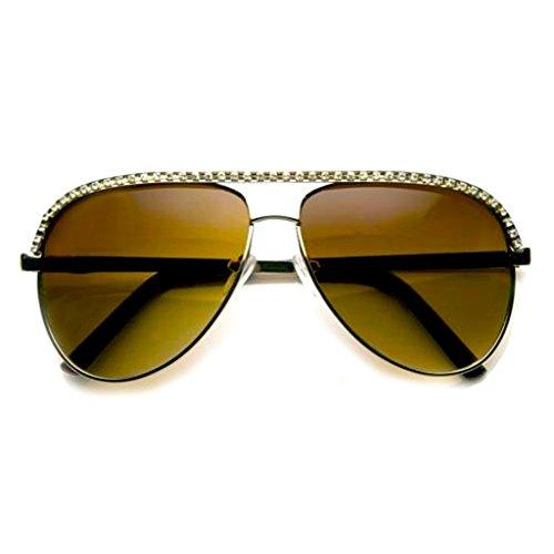 Emblem Eyewear - Strass Sonnenbrillen Damen Metal Stunner Prominente Bling Shades mit Flieger Rahmen...