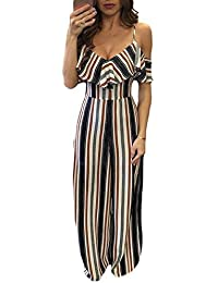 5f8cca1f733385 Betty-Boutique Multicolor Stripes Frill Cold Shoulder Jumpsuit Size 8-10