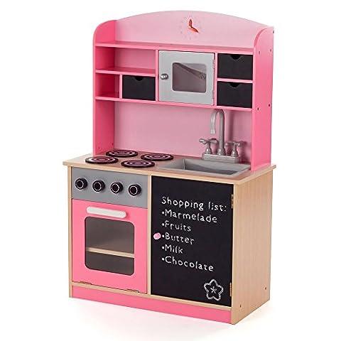 BABY VIVO Kinderküche Spielküche aus Holz Kinderspielküche Küche Holzküche Spielzeugküche mit Tafel Mila in Rosa