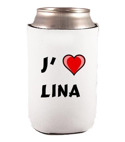 Couverture de bouteilles personnalisée en néoprène avec J'aime - Lina inscription