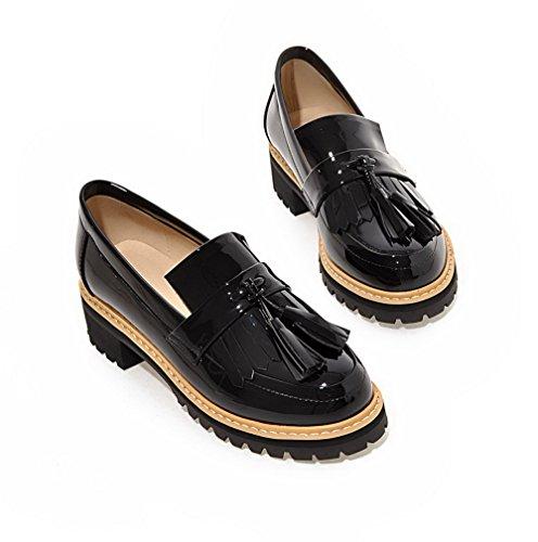 VogueZone009 Femme Couleur Unie Verni à Talon Bas Tire Rond Chaussures Légeres Noir