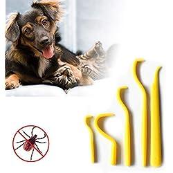 Yissma Garrapatas garrapatas 5 Piezas Gancho removedor de pulgas Gato Humano Suministros para Mascotas Herramienta para Eliminar garrapatas Suministros para Mascotas