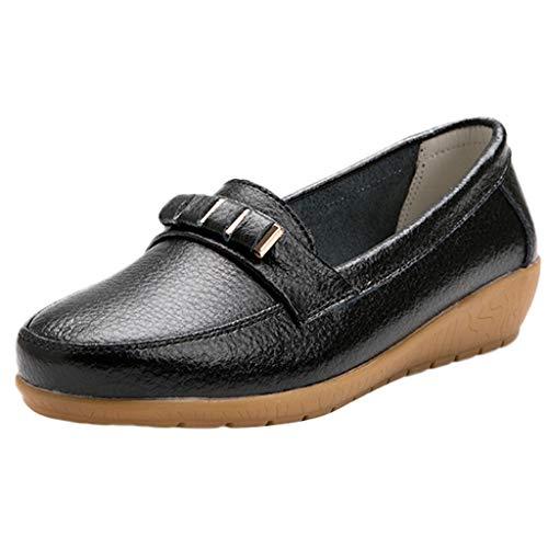 Amlaiworld ❤ Damen-Einfarbige Schuhe, Frauen vielseitige Flache weichen Boden Sommerschuhe Große Größe Solid Color Schuhe(Schwarz,42)