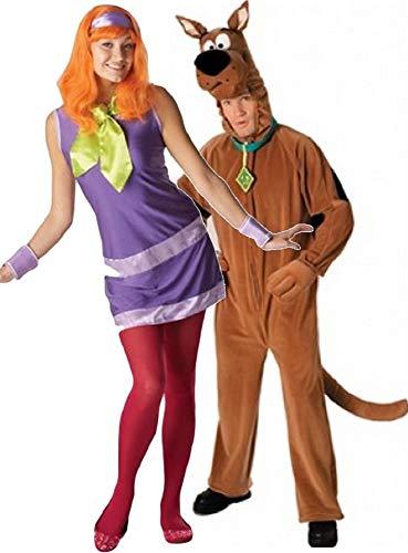 Damen und Herren Paar Daphne Scooby-Doo 1960s Jahre 60s Jahre TV Film Kostüm Verkleidung Outfit - Mehrfarbig, Mehrfarbig, Ladies UK 12-14 & Mens STD