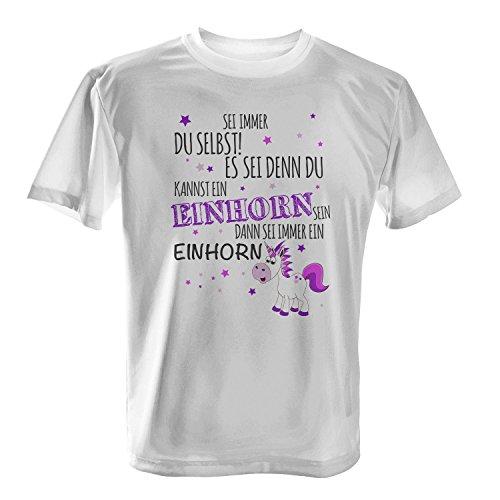 Fashionalarm Herren T-Shirt - Sei immer du selbst Es sei denn du kannst ein Einhorn sein | Fun Shirt mit Spruch als Geschenk Idee für Unicorn Fans Weiß