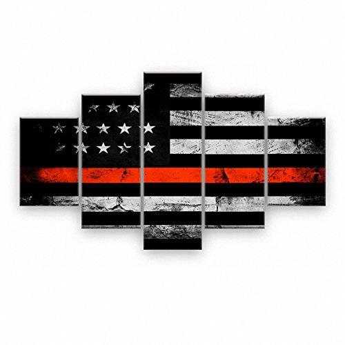 SODIAL Retro amerikanische Flagge Leinwanddruck Kunst schwarz-weiss rot Hauptdekor Wandkunst Unabhaengigkeitstag Bilder fuer Wohnzimmer 5 Panel grosse Poster Malerei gerahmt (Amerikanische Flagge Wand Poster)