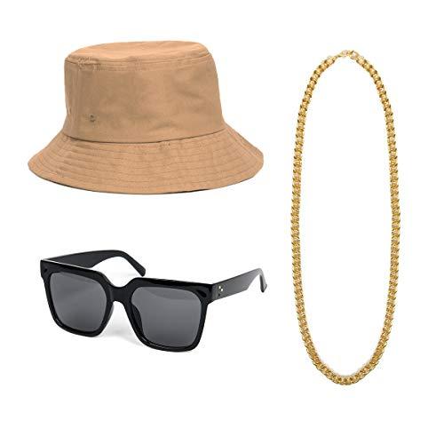 NUWIND 3-teiliges 80er 90er Jahre Hip Hop Kostüm Accessoires Kit - Melone Hut Gold Kette DJ Sonnenbrille Retro Stil Coole Rapper Party Outfits - 90er Jahre Rapper Kostüm