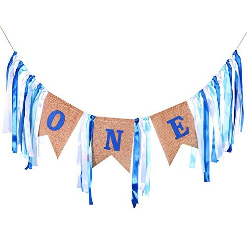 Lvcky Geburtstag Dekorationen, für Junge, Baby Boy 's Ersten Geburtstag Banner, Jute Hochstuhl Banner Girlanden für Junge 1. Geburtstag Dekorationen (blau und weiß) (Geburtstag Banner Boy)