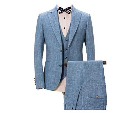bridalsuits Herren Anzüge 3-TLG. Blau 2 Knopf Peak Revers Sakko mit Einreiher Weste und Hose - Peak Revers Weste