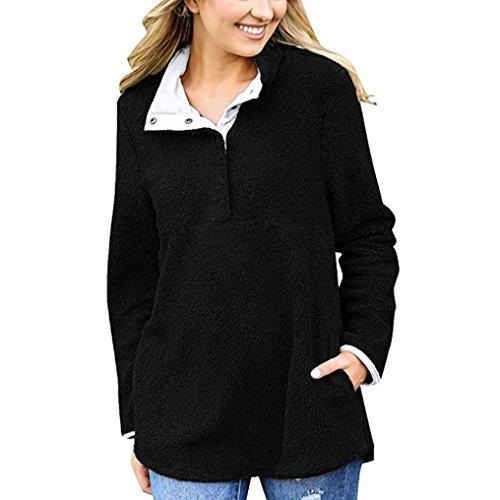 Winwintom Les pulls des femmes manteau hiver chaud 1/4 bouton costume pull velours cardigan veste Noir