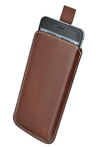 Samsung Galaxy S6 Edge + (Plus) (SM-G928F) *Ultra Slim* Original Suncase Leder Etui Tasche Handytasche Ledertasche Schutzhülle Case Hülle (mit Rückzuglasche) braun