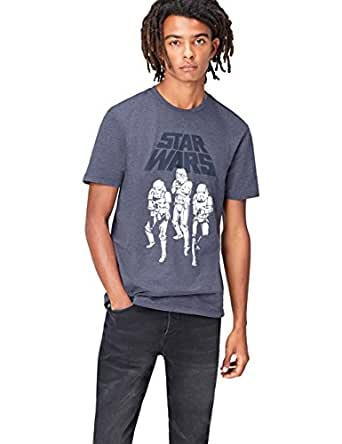 FIND T-shirt Star Wars Stampa 'Stormtroopers' Uomo, Blu (Blue), Small