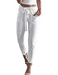 Minetom Femme Pantalons Été Casual Slim Chic Mode Crayon Taille Haute  Legging Pants Trousers Longue Elastique 8727b9e1ea88