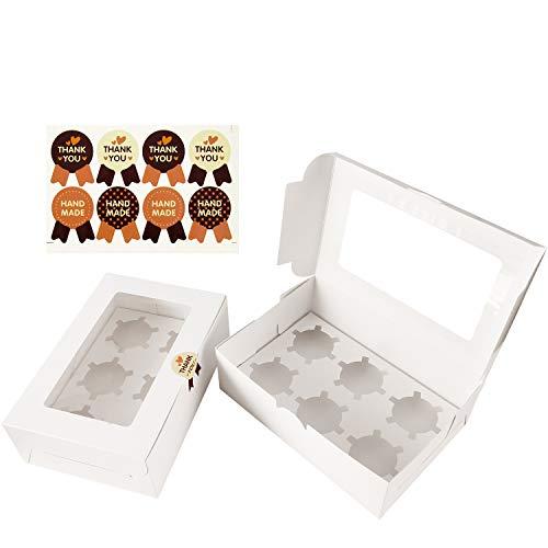 , 8 Stück Cupcake Muffin Box für 6 Kuchen, Weiß ()