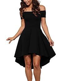GERMMI Damen Kleid Abendkleid Schulterfreies Cocktailkleid Jerseykleid  Skaterkleid Knielang Elegant Festlich Asymmetrisches Partykleid 454de31d94