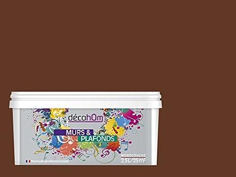 Peinture Exterieur Chocolat - DECOHOM Peinture Murale monocouche 2,5 L Mat