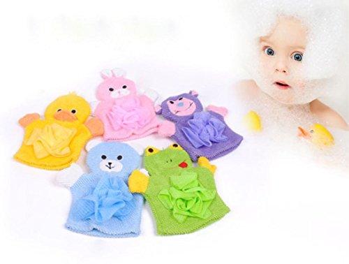 Wokee Nette Kinder Baby,Mesh Duschschwamm, Badeschwamm Zum Einseifen, Peelingschwamm,Dusche Bade Badetuch 5 Farben Tiere Stil Dusche Waschlappen Handtücher (Mesh-waschlappen)