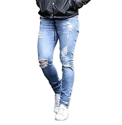 Jeans aderenti strappati strappati da uomo pantaloni jeans aderenti con zip nudi strappati pantaloni casual di moda pantaloni di design fitness pantaloni attillati da uomo