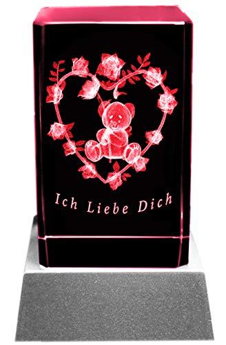 Kaltner Präsente Stimmungslicht LED Kerze/Kristall Glasblock / 3D-Laser-Gravur Teddy Rose Herz ICH LIEBE DICH