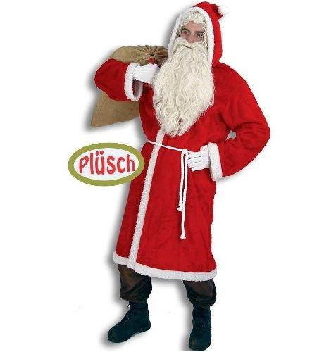 Nikolauskostüm PLÜSCH Nikolaus Weihnachtsmann Mantel Kostüm mit Gürtel Gr 56