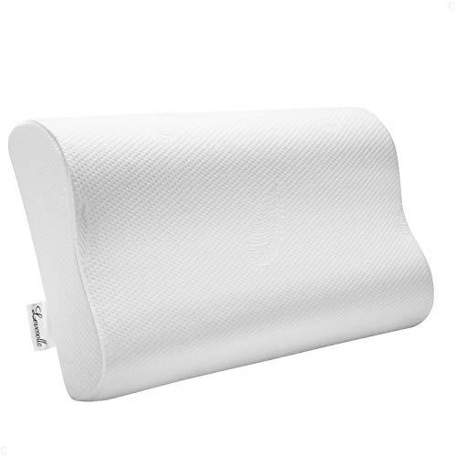 Levesolls cuscino cervicale memory 60×36×12/10cm, cuscino antipolvere e antiacaro in memory foam, guanciale letto gel ergonomico per dolori a collo e cervicali, rimovibile/lavabile, federa morbida