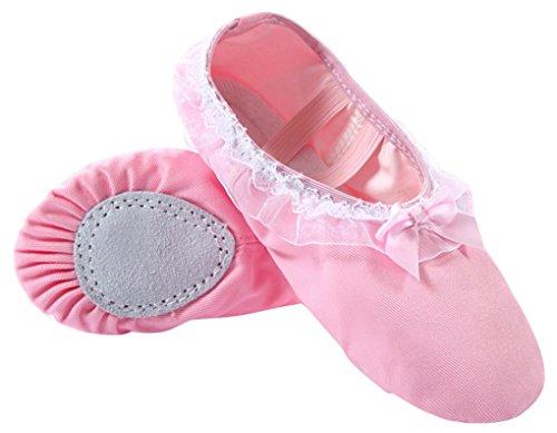 Happy Cherry – Chaussures de Ballet Ballerines Demi-pointes en Toile Dentelle avec noeudpapillon pour Enfant Fille Femme – Rose –Taille 23-36