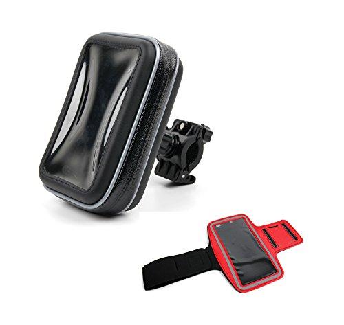 DURAGADGET 3 in 1 Set: Outdoor-Fitnessarmband in Rot und Fahrrad-Halterung mit Hülle für Lumigon T2 HD Smartphones