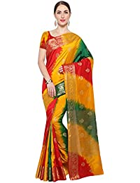 SAREE MALL Women'S Silk Saree With Blouse Piece (Yellow & Red & Green_Free Size )