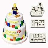 Silikonformen in Form von Bausteinen/ Lego zur Tortendekorationen mit Zuckerpaste, weiß