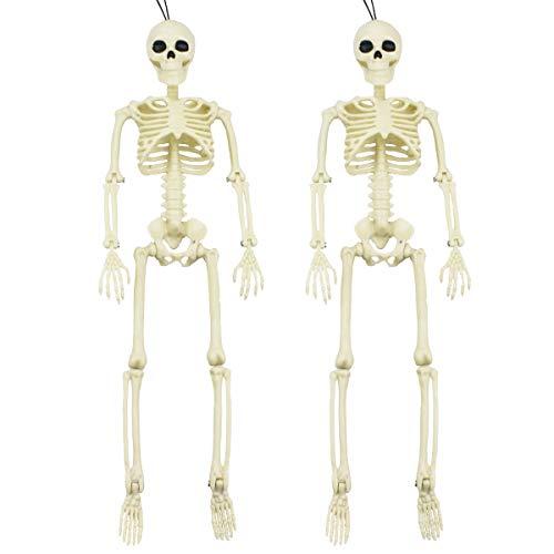XONOR 2 Stück bewegliches Halloween-Skelett - Ganzkörper-Halloween-Skelett mit beweglichen Gelenken für Spukhaus-Requisiten-Dekorationen