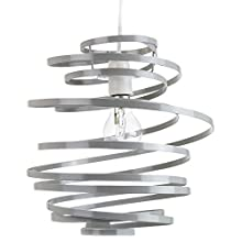Modern Designer Grey Gloss Metal Double Ribbon Spiral Swirl Ceiling Light Pendant Shade   23cm Diameter   60w Maximum by Happy Homewares