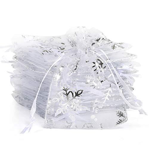 Naler 120 Bolsas Organza Blanca Copo Nieve Saquitos