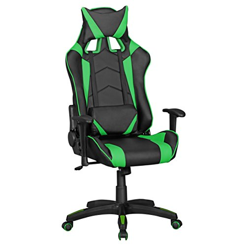 Amstyle Score Gaming Chair aus Kunstleder (schreibtisch-Stuhl in Leder-Optik | Design Racing Chefsessel mit Armlehne | Gamer Bürostuhl mit Racer Sport-Sitz und Kopfstütze | Drehstuhl in Race-Optik) Schwarz/Grün - Leder-schreibtisch-stuhl