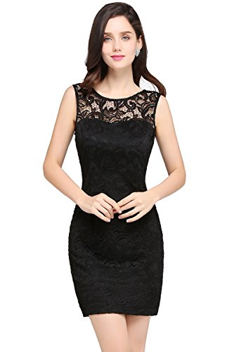 Damen Elegant Ämellos Kleid mit Blumenstickerei Spitzen Abschlusskleid Kurz Schwarz 46