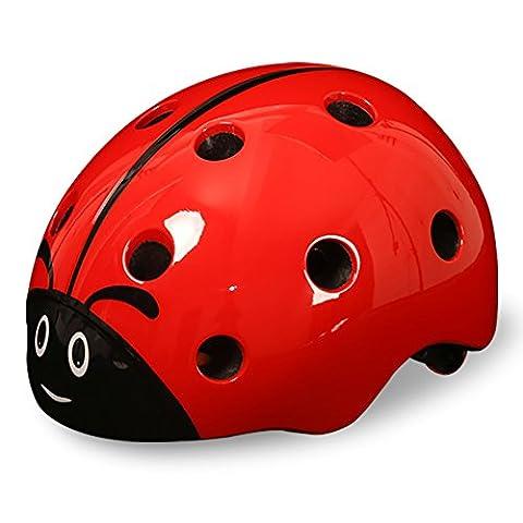 SHTH Kinder Fahrradhelm,Unisex Kinder Helm für Radfahren Skateboard und Eislaufen (Rot)