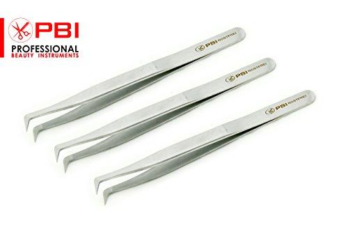 pincettes à cils - pincettes d'extension de cils - 11,2 cm, 3 pièces - acier inoxydable de PBI