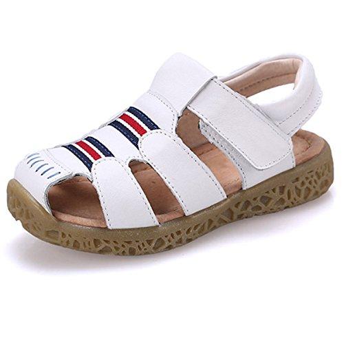 GESIMEI Unisex-Kinder Sandalen Geschlossene für Jungen Mädchen Leder Lauflernschuhe Klettverschluss Leichte Sommerschuhe Weiß 25 EU, Bestellgröße 26