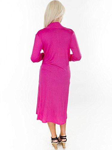 Damen Langes Kardigan Maxi Kleid in ganzer Körperlänge, vorne offen Hot Pink