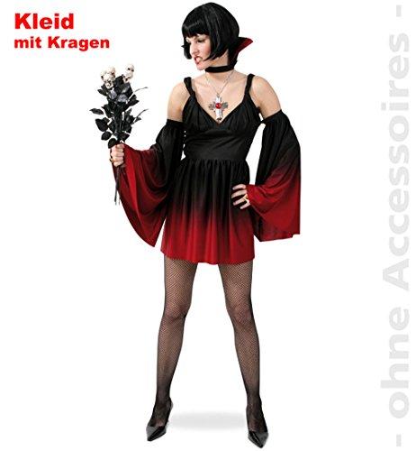 Sexy Vampir Damen Kleid mit Kragen 36
