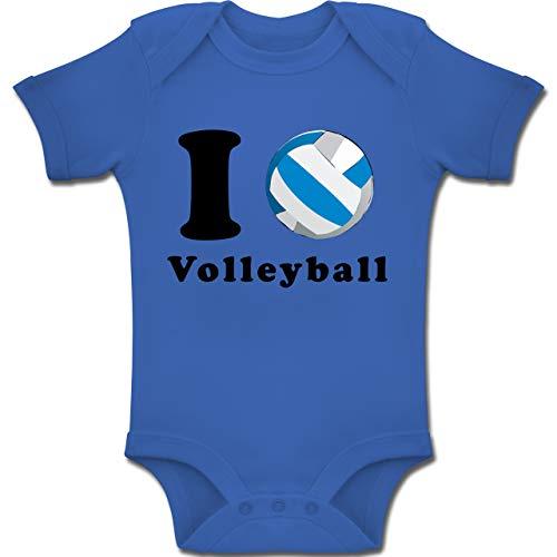 Sport Baby - I Love Volleyball - 1-3 Monate - Royalblau - BZ10 - Baby Body Kurzarm Jungen Mädchen
