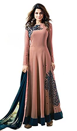 Florely Women's Georgette New Arrival Fancy Anarkali Wedding Wear Floor Length Gown (Orange)