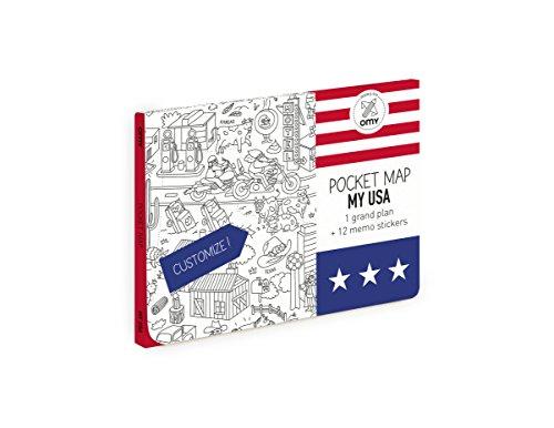OMY USA Pocket Map, Papier, Mehrfarbig