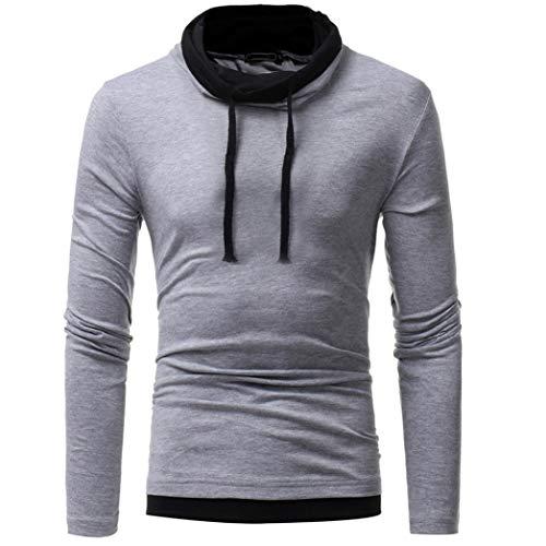 (IMJONO Herren Sweatshirt Slim Fit Kapuzenpullover Strickjacke Cardigan Lange Trenchcoat Jacke (EU-52/CN-3XL,Grau))