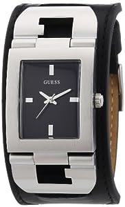 Reloj Guess Cuffed W0066G1 de cuarzo para hombre, correa de cuero color negro de Guess
