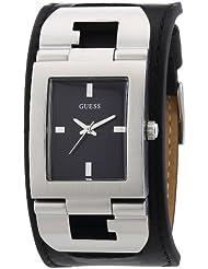 Guess Cuffed W0066G1 - Reloj analógico de cuarzo para hombre, correa de cuero color negro
